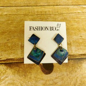 Dangle Pierced Earrings Blue Purple Fashion Bug